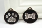 Pet Tag - 25mm Black  Round disc with Rhineston Paw print or Bone