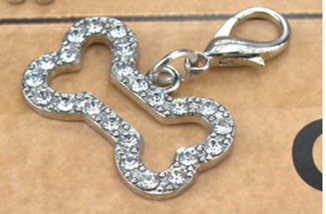 Pet Tag - Silver and Rhinestone Bone 18 x 30mm