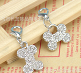 Pet Tag - 15mm x 25 mm Rhinestone Bone shaped Dog Charm