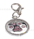 Pet Tag - 20mm x 20mm Circular Rhinestone Paw Print shaped Dog Charm