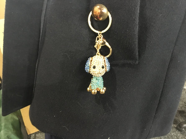 Diamante Key Ring 3 d Blue