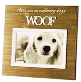 Wood Framed photo frame for Dogs- Saying There are no ordinary dogs WOOF. White frame around photo area - 10cm x 15cm