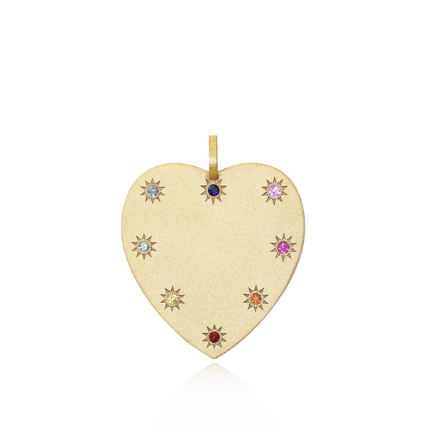 Big Heart Token + Multicoloured Sapphires