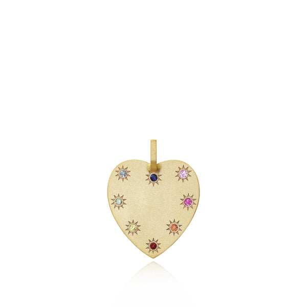 Medium Heart Token + Multicoloured Sapphires