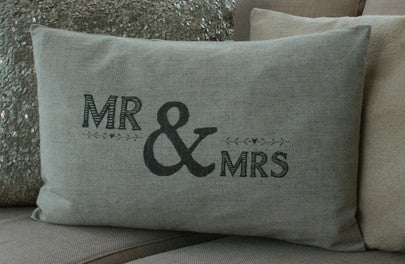 mr and mrs cushion - wedding and anniversary gifts