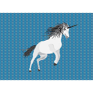 Unicorn on Blue