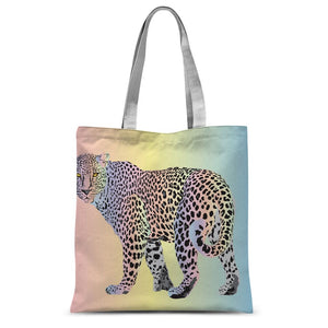 Rainbow Snow Leopard Sublimation Tote Bag
