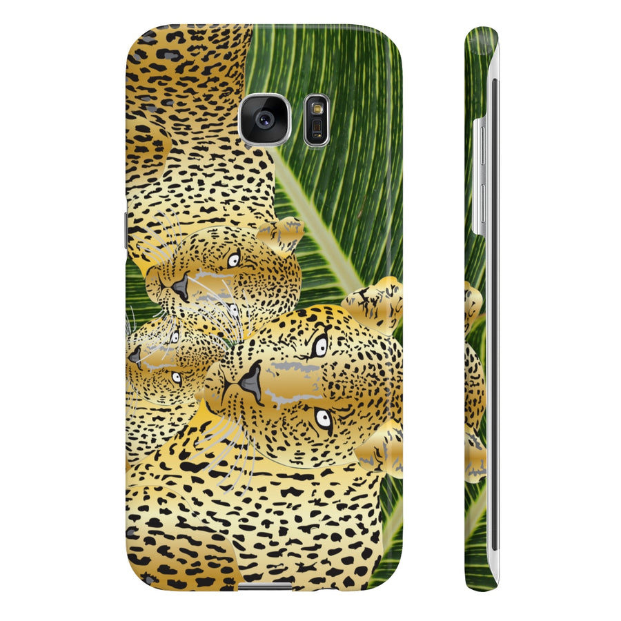 Three Gold Leopards Slim Phone Cases