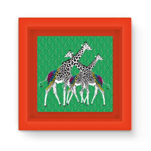 Three Giraffes on Green Art Print Magnet Frame