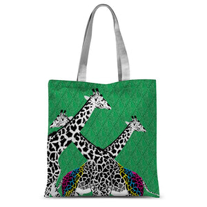 Three Giraffes on Green Sublimation Tote Bag
