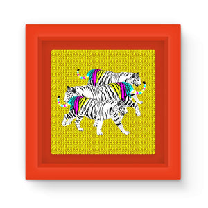 Three Tigers on Yellow Art Print Magnet Frame