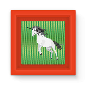 Unicorn on Green Graphic Art Print Magnet Frame