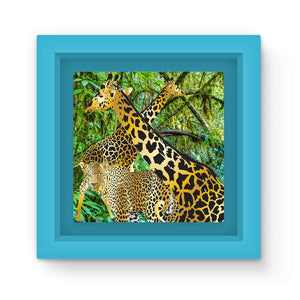 Two Gold Giraffes with Leopard Graphic Art Print Magnet Frame
