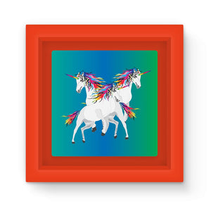 Rainbow Unicorns Graphic Art Print Magnet Frame