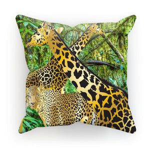 Two Gold Giraffes with Leopard Gift Cushion