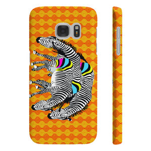 Three Zebras on Orange Slim Phone Case
