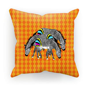 Three Zebras on Orange Cushion/Pillow