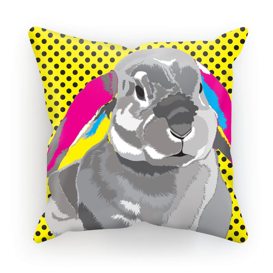 CMYK Rabbit with Yellow Polka Dots Cushion/Pillow