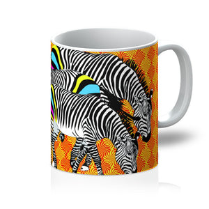 Three Zebras on Orange gift Mug