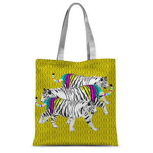 Three Tigers on Yellow Sublimation Tote Bag