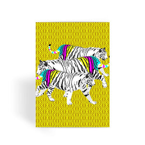 Three Tigers on Yellow Designer Greetings