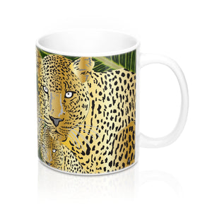 Three Gold Leopards Coffee Mug 11oz