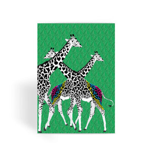 Three Giraffes on Green Greeting Card
