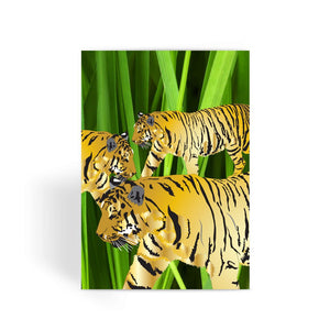 Three Gold Tigers Greeting Card