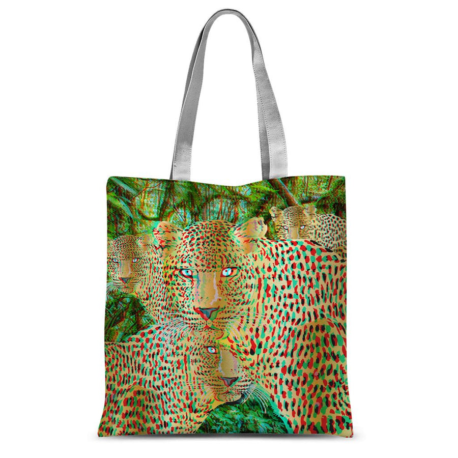 Four Gold Leopards 3D Art Sublimation Tote Bag
