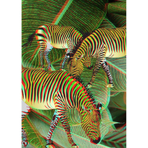 ANAGLYPH-3D-Three-Golden-Zebras Wall 3D Art Print
