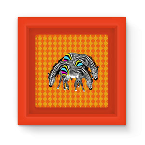 Three Zebras on Orange Graphic Print Magnet Frame