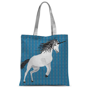 Unicorn on Blue Sublimation Tote Bag