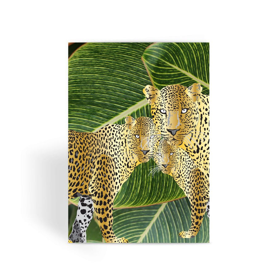 THREE GOLD LEOPARDS Greeting Card