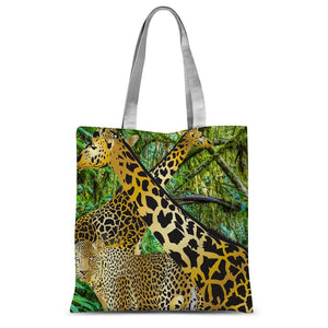 Two Gold Giraffes with Leopard Sublimation Tote Bag