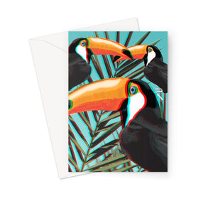 3D-Toucans-Leaves 3D Anaglyph Greetings Card