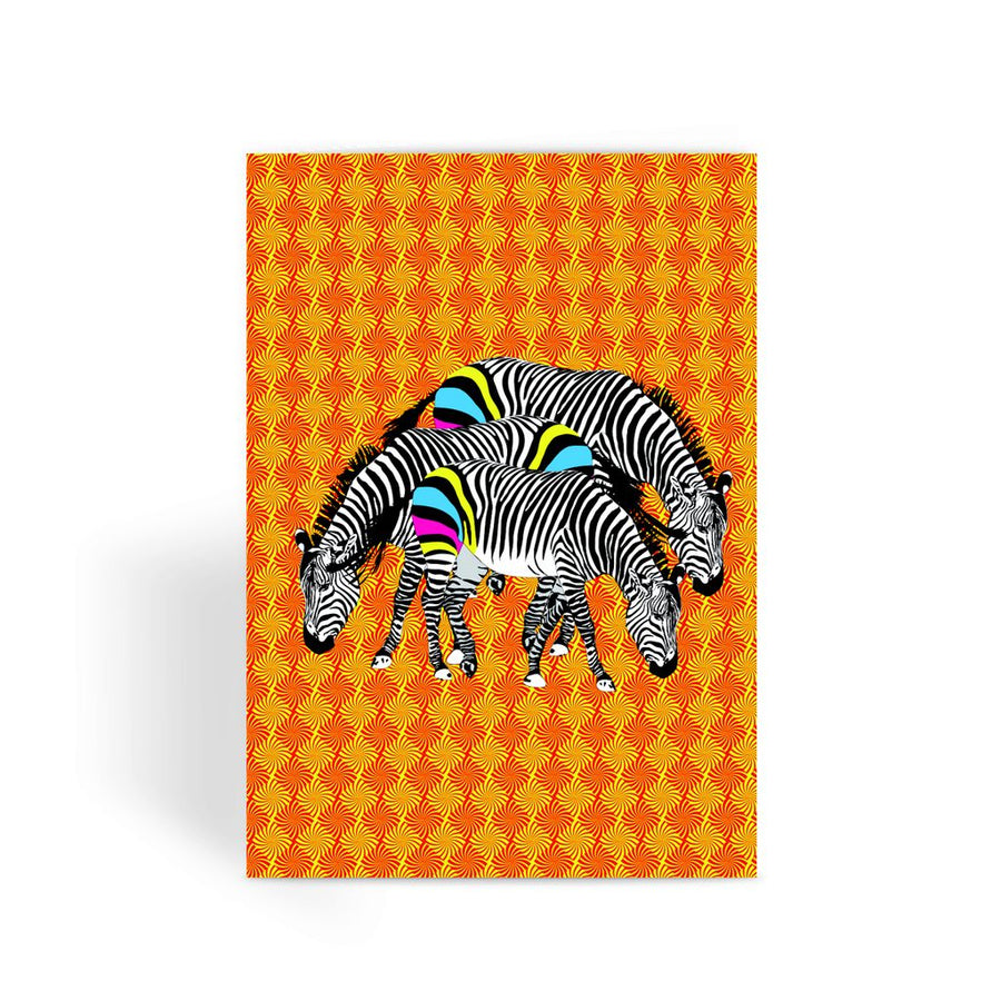 Three Zebras on Orange Greeting Card