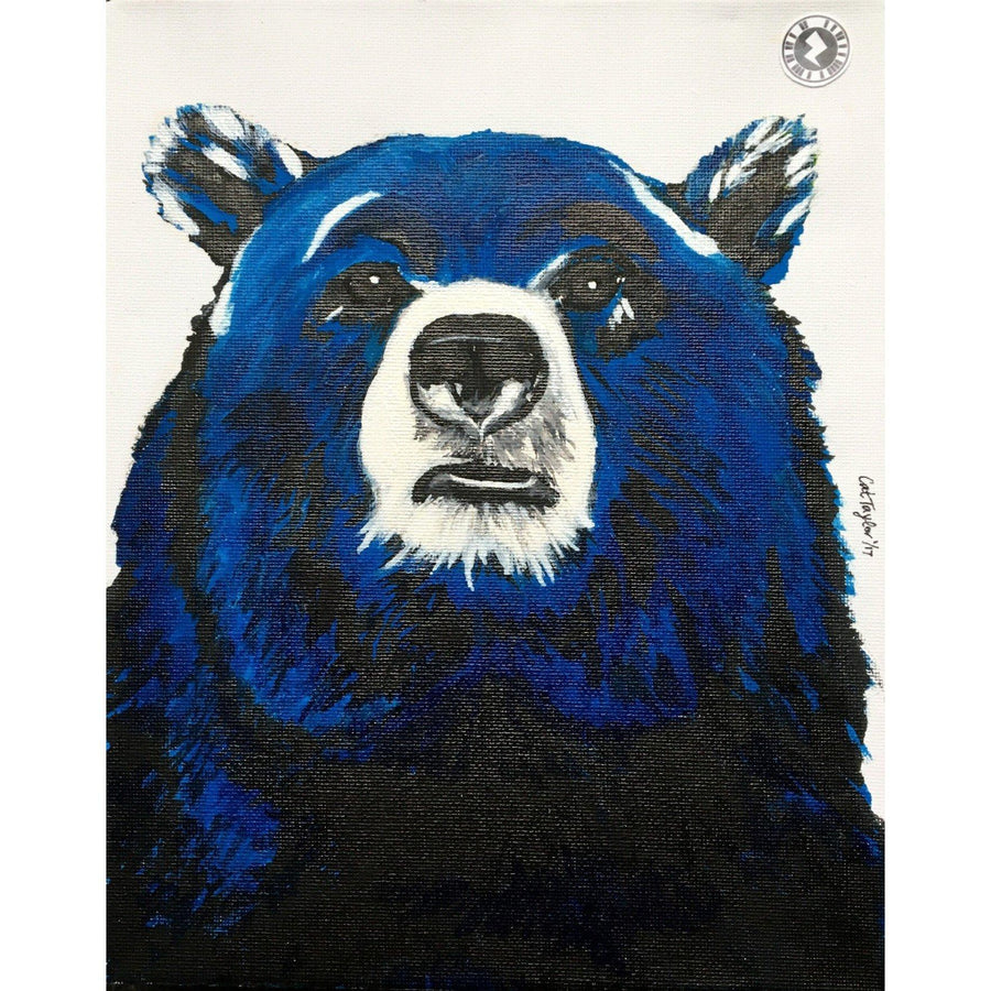 Fine Art Original Augmented Reality Canvas - Blue Bear Kaleidoscope