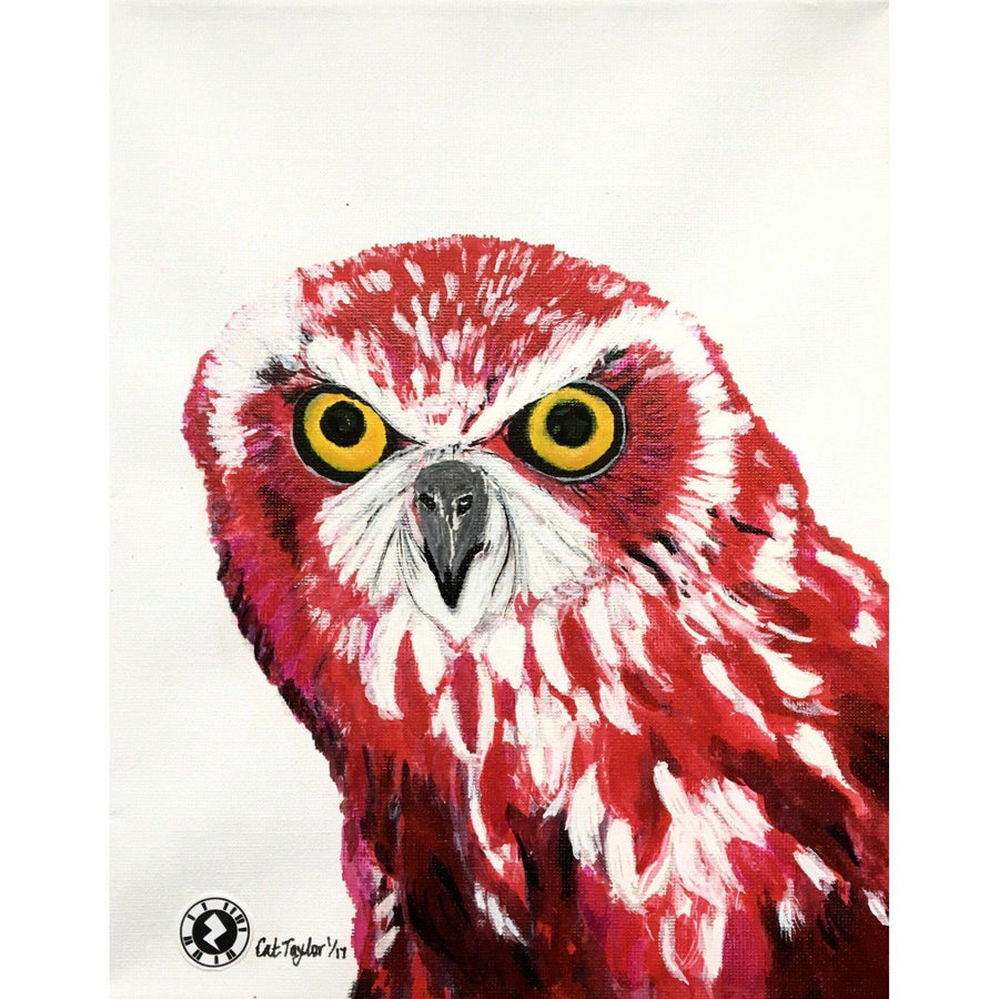 Fine Art Original Augmented Reality Canvas - Cerise Owl Kaleidoscope