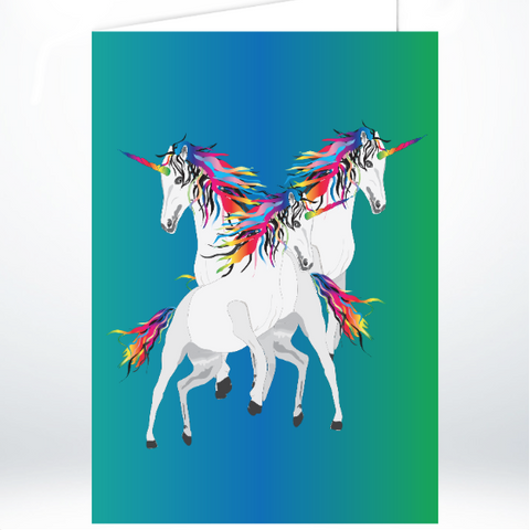 Rainbow Unicorns on Blue/Green A5 Greeting Card