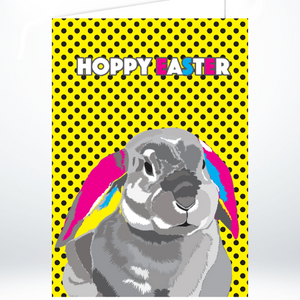 Hoppy Easter Rabbit on Yellow Polka Dots Greeting Card