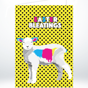 Easter/Spring Lamb on Yellow Polka Dots A5 Greeting Card