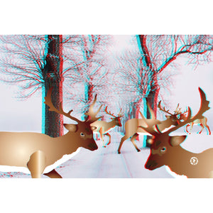 3D EFFECT Augmented Reality Deer Christmas Greetings Card