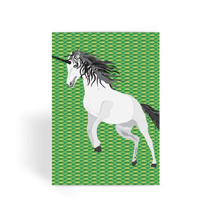 Unicorn  on Green Greeting Card