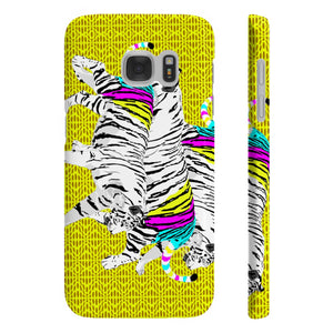 Three Tigers on Yellow - Slim Phone Case