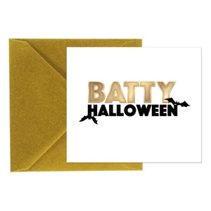 Halloween Card - Batty Halloween - Square Card with Gold Envelope