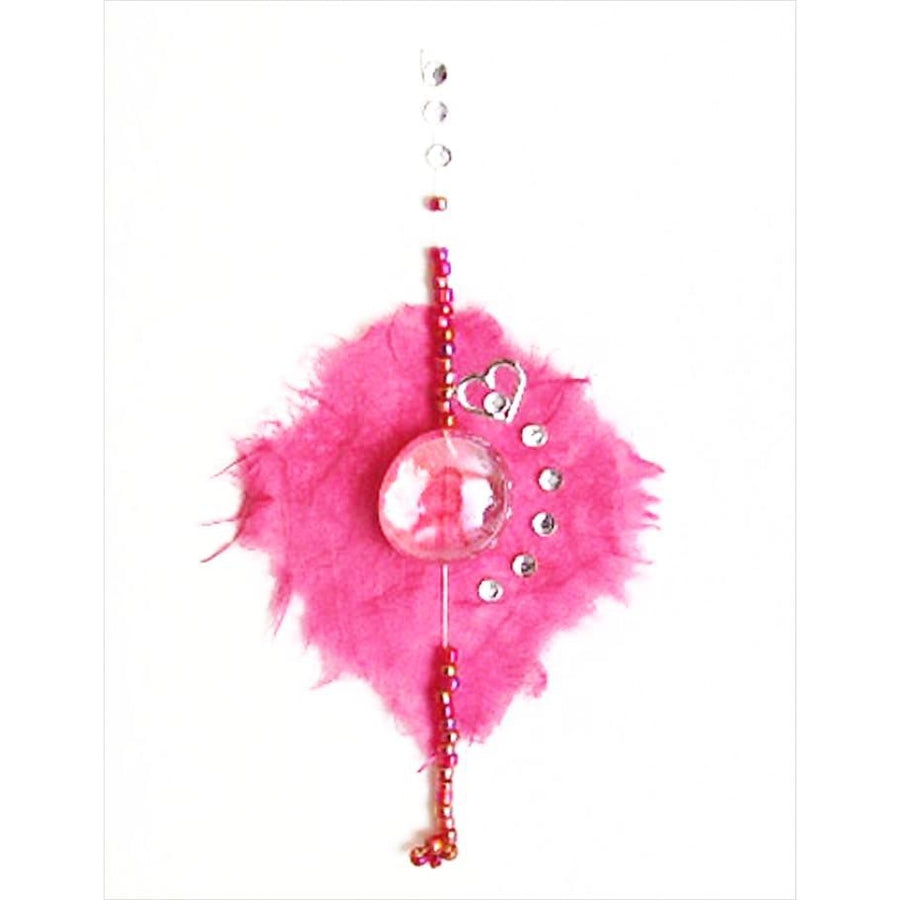 handmade cerise glass and bead valentine's card