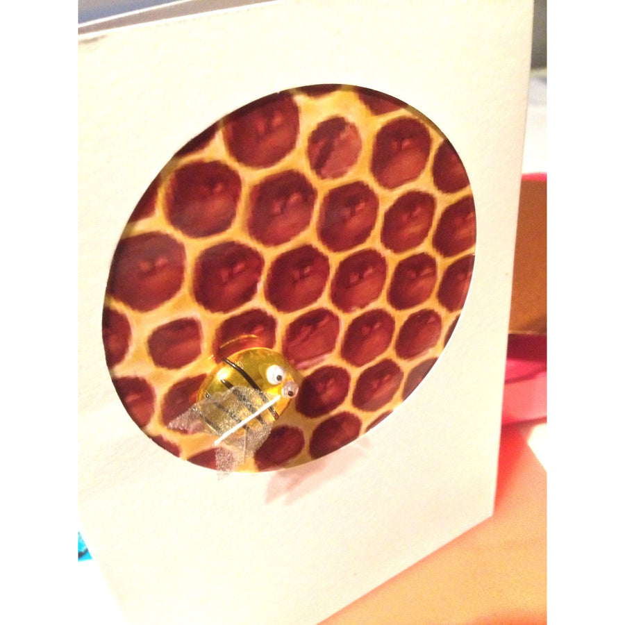 Buggles Bee on Honeycomb Birthday Greeting Card 'Happy Birthday Honey!'