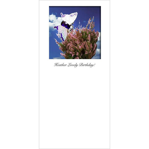 Buggles Butterfly on Heather Greeting Card