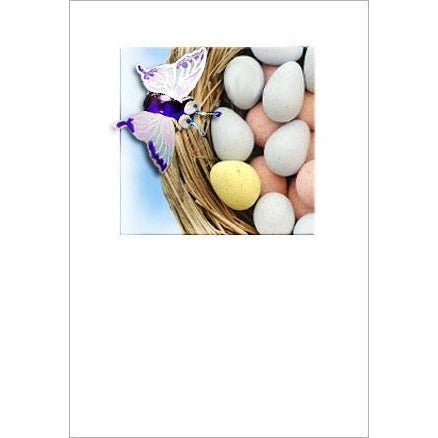Buggles butterfly on nest easter blessing greeting card