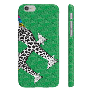 Three Giraffes on Green Slim Phone Case